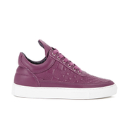 Filling Pieces Women's Stripe Quilted Low Top Leather Trainers - Purple