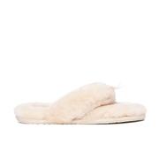 UGG Womens Fluff Flip Flop II Slippers  Natural  UK 8.5