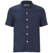 Folk Men's New Piano Short Sleeve Shirt - Navy Texture