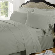Highams 100% Egyptian Cotton Plain Dyed Bedding Set - Silver Grey [China Sizing Only]