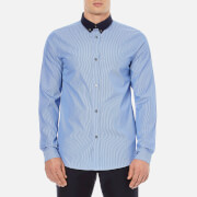 A.P.C. Mens Steven Contrast Collar Long Sleeved Shirt  Bleu  M
