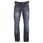 Crosshatch Men's New Embossed Techno Straight Fit Jeans - Dark Wash