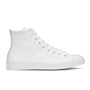 Converse Unisex Chuck Taylor All Star Leather HiTop Trainers  White Monochrome  UK 3