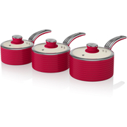 Swan SWPS3020RN 3 Piece Retro Aluminium Saucepan Set - Red