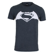 DC Comics Men's Batman v Superman Logo T-Shirt - Dark Heather