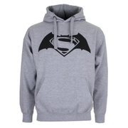 DC Comics Men's Batman v Superman Logo Hoody - Grey