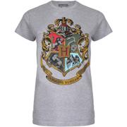 Harry Potter Women's Hogwarts Crest T-Shirt - Sport Grey