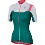 Sportful BodyFit Womens Short Sleeve Jersey  GreenWhitePink  XS