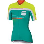 Sportful Gruppetto Womens Short Sleeve Jersey  GreenWhiteYellow  S
