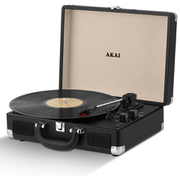 Akai Rechargeable Portable Briefcase Turntable with Built-In Speaker - Black
