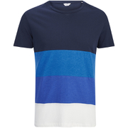 Jack & Jones Herren Core Dylan Block Stripe T-Shirt - Navy