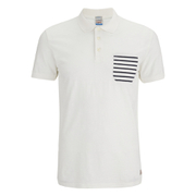 Jack & Jones Men's Originals Extra Stripe Pocket Polo Shirt - White/Navy