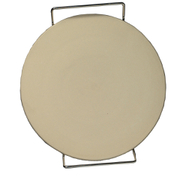 Eddingtons Traditional Ceramic Pizza Stone - Cream/Steel - 38cm
