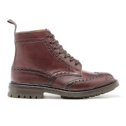 Tricker's Men's Stow Leather Commando Sole Lace Up Brogue Boots - Burgundy