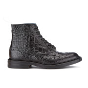 Tricker's Men's Stow Croc Leather Lace Up Brogue Boots - Black