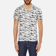 J.Lindeberg Men's Dani Short Sleeve Drapey Print Shirt - Off White