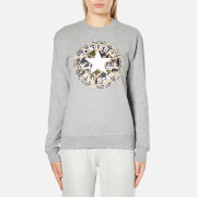 Converse Women's All Star Camo CP Graphic Crew Sweatshirt - Vintage Grey Heather - XS