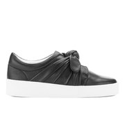 Senso Women's Annie Front Bow Leather Slip On Trainers - Ebony