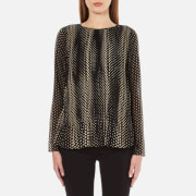MICHAEL MICHAEL KORS Women's Aralia Long Sleeve Pleated Top - Khaki