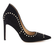 Sam Edelman Women's Hayden Suede Studded Court Shoes - Black