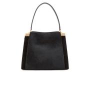 Lulu Guinness Women's Collette Large Leather and Suede Shoulder Bag - Black