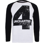 Unchartered 4 Mens Distressed 4 Long Sleeve Raglan Top - Wit/Zwart
