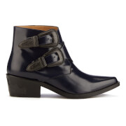 Toga Pulla Womens Buckle Leather Heeled Ankle Boots  Navy Polido  EU 37UK 4