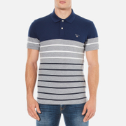 GANT Men's Dropped Stripe Pique Polo Shirt - Persian Blue