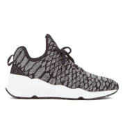Ash Women's Magma Snake Print Knitted Running Trainers - Black/Grey - UK 6