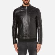 HUGO Men's Lesson Leather Biker Jacket - Black