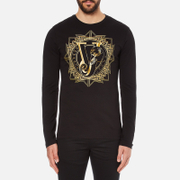 Versace Jeans Men's Large Print Long Sleeve T-Shirt - Black
