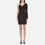 Versus Versace Women's Half Sleeveless Half Long Sleeve Fitted Dress - Black