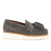 Grenson Women's Clara V Suede Tassle Loafers - Charcoal