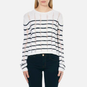 T by Alexander Wang Womens Dropped Needle Merino Jersey Cropped Pullover Jumper  InkIvory  L