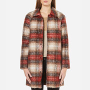 ONLY Women's Terry Checked Wool Coat - Potting Soil