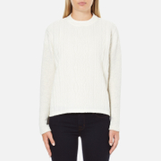 Maison Scotch Women's High Neck Sweatshirt With Special Textured Woven Front - White - 2/UK 10