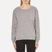 Maison Scotch Women's Crew Neck Sweatshirt with Star Neck Detail - Grey - 2/UK 10