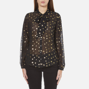 Maison Scotch Women's Sheer Printed Top with Neck Tie - Black