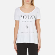Polo Ralph Lauren Women's Scoop Neck Logo T-Shirt - White
