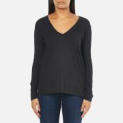 Polo Ralph Lauren Womens Long Sleeve V Neck TShirt  Boot Black Heather  S