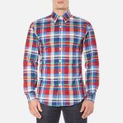 Polo Ralph Lauren Mens Long Sleeve Checked Stretch Oxford Shirt  RedBlue  S