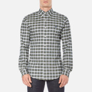 Polo Ralph Lauren Mens Long Sleeve Checked Stretch Oxford Shirt  GreenWhite  S