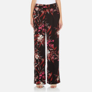 Gestuz Women's Demi Wide Leg Printed Pants - Black/Pink Flower Print - EU 38/UK 10