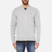 Lacoste L!ve Men's Full Zip Sweatshirt with Bomber Collar - Paladium Chine