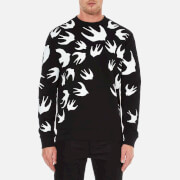 McQ Alexander McQueen Men's Swallow Print Clean Crew Neck Sweatshirt - Darkest Black
