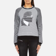 Karl Lagerfeld Women's Karl Head Jacquard Sweatshirt - Black/White - L