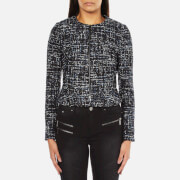 Karl Lagerfeld Women's Sparkle Boucle Jacket With Zip - Total Eclipse - IT 44