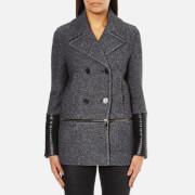 Karl Lagerfeld Women's Melange Boiled Wool Peacoat - Grey Melange - IT 40