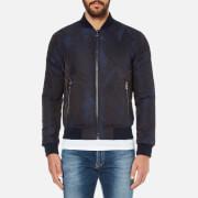 Versace Collection Men's Patterned Zipped Blouson Jacket - Blu-Nero - EU 48
