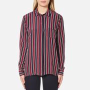 Ganni Women's Donaldson Silk Shirt - Cabernet Stripe